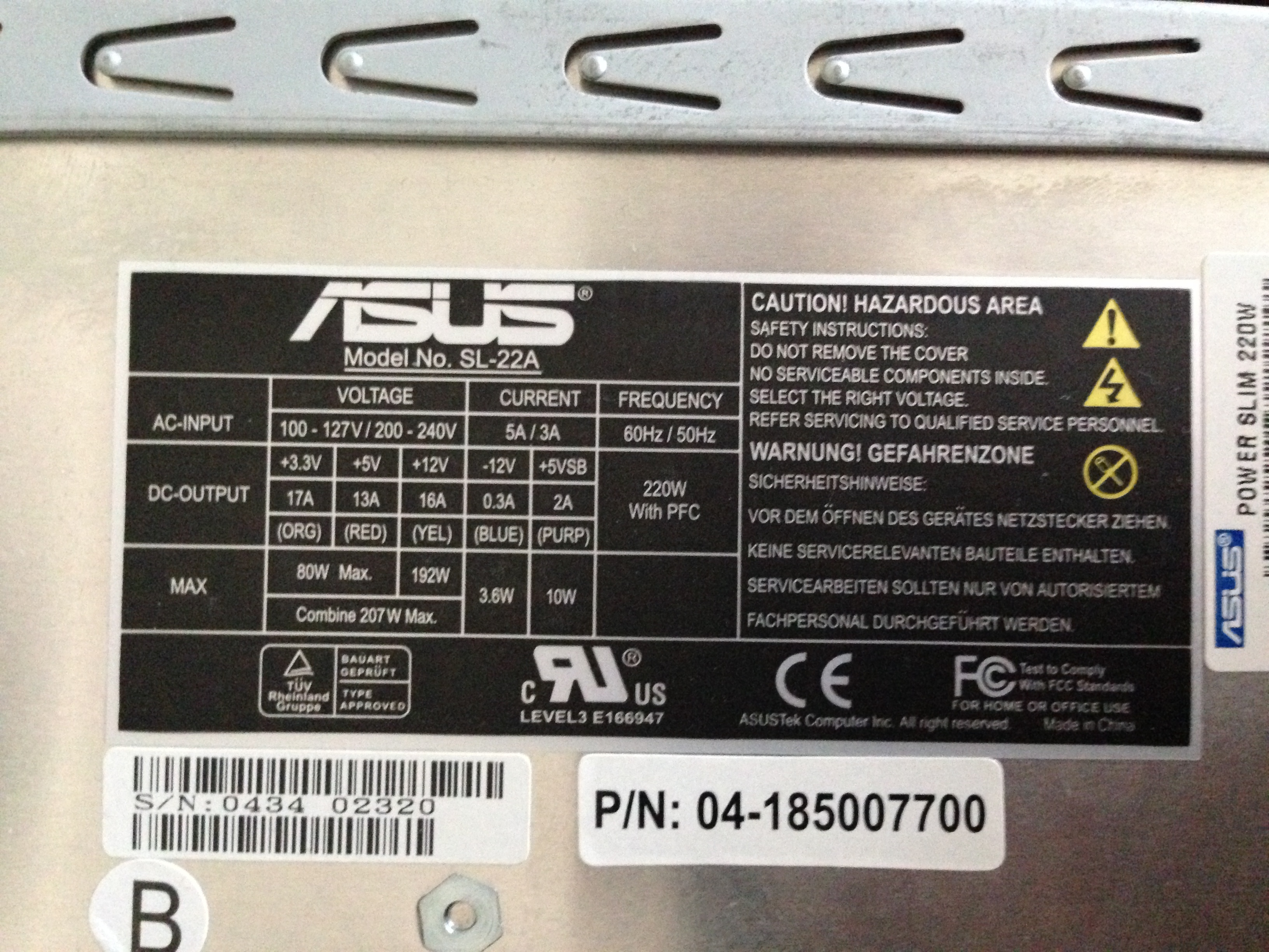 Asus Power Supply Ratings